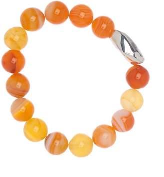 Simon Sebbag Sterling Silver Striped Orange Agate Stretch Bracelet