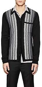 Lanvin Men's Herringbone Wool Jacquard Cardigan-Black
