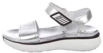 Prada Metallic Open-Toe Sandals