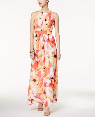 Nine West Printed Halter Maxi Dress