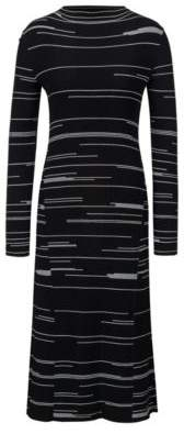HUGO Boss Slim-fit dress in stretch fabric irregular lines S Patterned