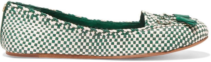 Tory Burch Tory Burch Russell bow-embellished woven-leather loafers
