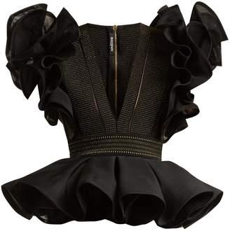 Balmain Ruffle-sleeved peplum-hem stretch-knit top