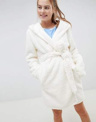Asos DESIGN pom pom ear super soft robe