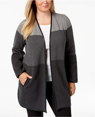 Charter Club Plus Size Cotton Colorblock Cardigan Sweater