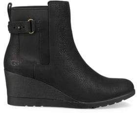 UGG Indra Leather Wedge Buckle Booties