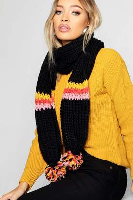 boohoo Coloured Stripe Knitted Scarf