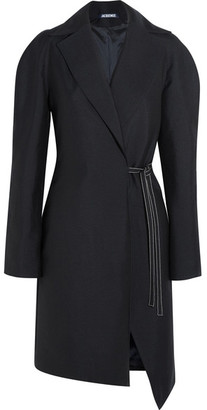 Jacquemus - Wool Wrap Coat - Navy $840 thestylecure.com