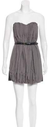 Alexander Wang Pleated Mini Dress Grey Pleated Mini Dress
