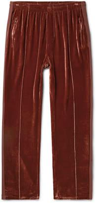 Our Legacy Webbing-Trimmed Velvet Sweatpants - Men - Burgundy