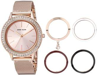 Anne Klein Women's -Tone Mesh Bracelet Watch and Interchangeable Bezel Set