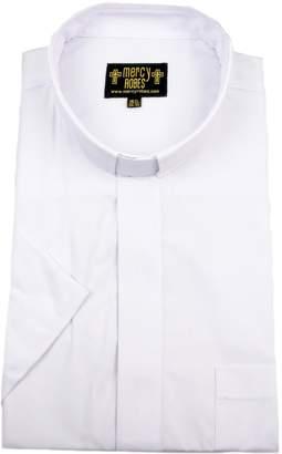 f6c1ba9e45 Mercy Robes Mens Short Sleeves TAB Collar Clergy Shirt (