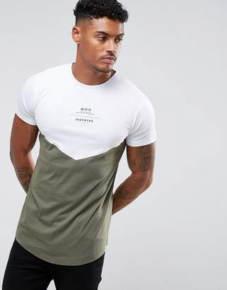 Hype T-Shirt In White With Khaki Panel