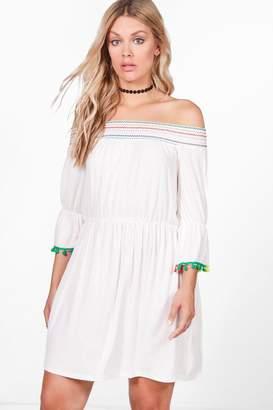 boohoo Plus Tara Embroidered Trim Swing Dress