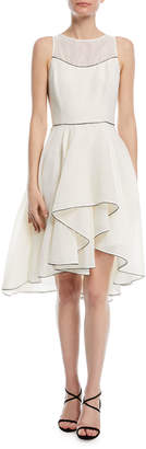 Halston Sleeveless Cocktail Dress w/ Dramatic Skirt