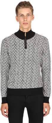 Versus Half Zip Logo Jacquard Sweater