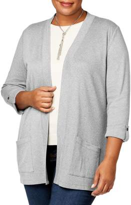 Karen Scott Plus Heathered Open-Front Cotton Cardigan