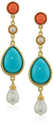 Santorini Ben-Amun Jewelry Turquoise Coral Stone Gold Post Drop Earrings