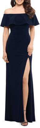 Xscape Evenings Off-The-Shoulder Ruffle Popover Cocktail Gown