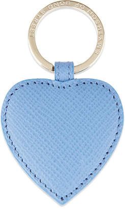 Smythson Panama leather heart keyring