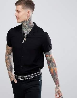 Religion Revere Collar Rayon Short Sleeve Shirt In Black