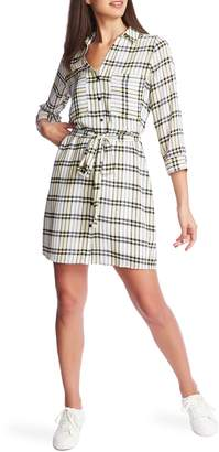 1 STATE 1.STATE Plaid Long Sleeve Crepe Georgette Shirtdress