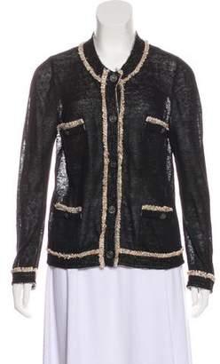 Chanel Linen Fringe-Trimmed Cardigan