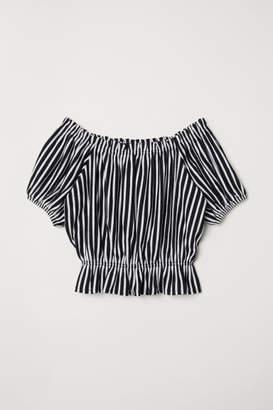 H&M Short Off-the-shoulder Top - Blue