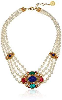 Ben-Amun Jewelry Victoria Multicolor Crystal Station Pearl Strand Pendant Necklace