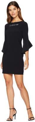 Bebe Logo Ruffle Sleeve Short Dress Women's Dress