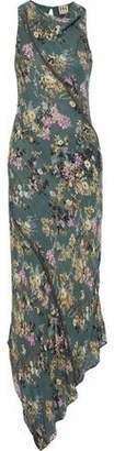 Haute Hippie Cecilia Asymmetric Chain-Embellished Floral-Print Silk Maxi Dress