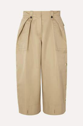 Sacai Cropped Grosgrain-trimmed Cotton-blend Gabardine And Poplin Pants - Beige