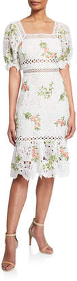 Saylor Lottie Square-Neck Short-Sleeve Floral Embroidered Lace Dress