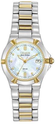 Zales Ladies' Citizen Eco-DriveA Riva Two-Tone Watch with Mother-of-Pearl Dial (Model: EW1534-57D)