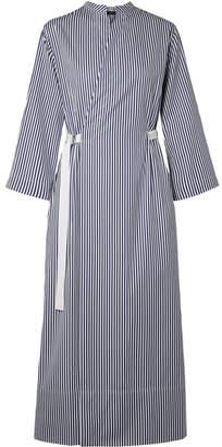 Joseph Laury Striped Cotton-poplin Wrap Midi Dress - Storm blue