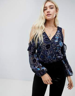 Band of Gypsies floral burnout vlevet cold shoulder bodysuit
