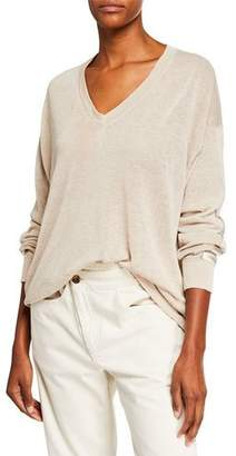 Brunello Cucinelli Linen V-Neck Pullover Sweater with Satin Band