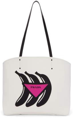 Prada (プラダ) - Prada ホワイト ミディアム バナナ Canapa トート