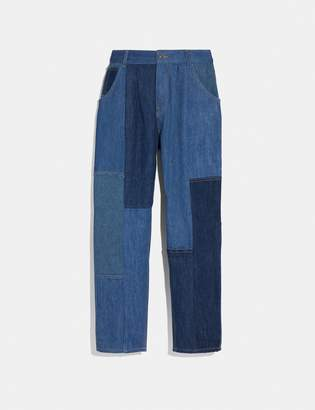 Coach Denim Patchwork Pleated Trousers