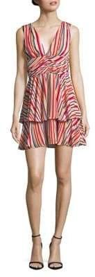 WAYF Striped V-Neck Mini Dress