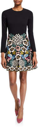 RED Valentino Floral Vines Embroidered Long-Sleeve Short Dress