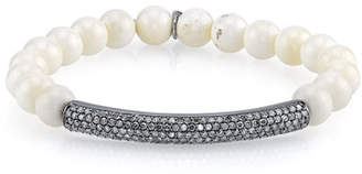 36764e99724 Sheryl Lowe 8mm Bone Beaded Bracelet with Diamonds