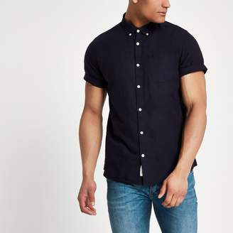 River Island Mens Navy wasp embroidered Oxford shirt