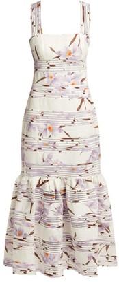 Zimmermann Floral Patterned Linen Maxi Dress - Womens - Ivory Multi