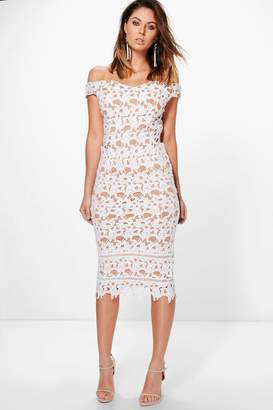 boohoo Boutique Lacey Crochet Off Shoulder Midi Dress $60 thestylecure.com