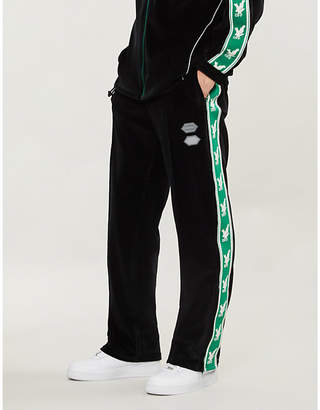 Off-White Side-stripe velour jogging bottoms