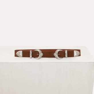 Maje Double-buckle belt in leather