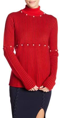 Opening Ceremony Wool Faux Pearl Detailed Turtleneck Sweater