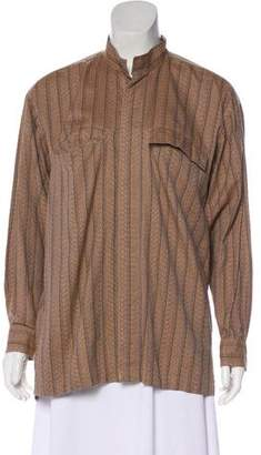 Issey Miyake Striped Button-Up Blouse