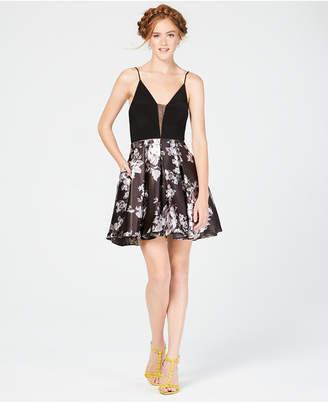Blondie Nites Juniors' Deep-V Solid & Floral Fit & Flare Dress